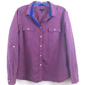 Talbots Button Down Shirt Pink Blue Plaid 14P